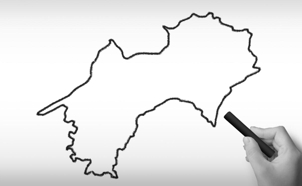 四国地方の白地図イラスト