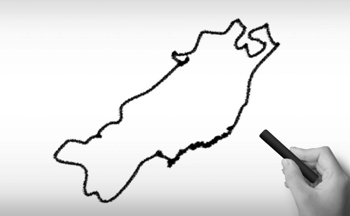 東北地方のの白地図イラスト
