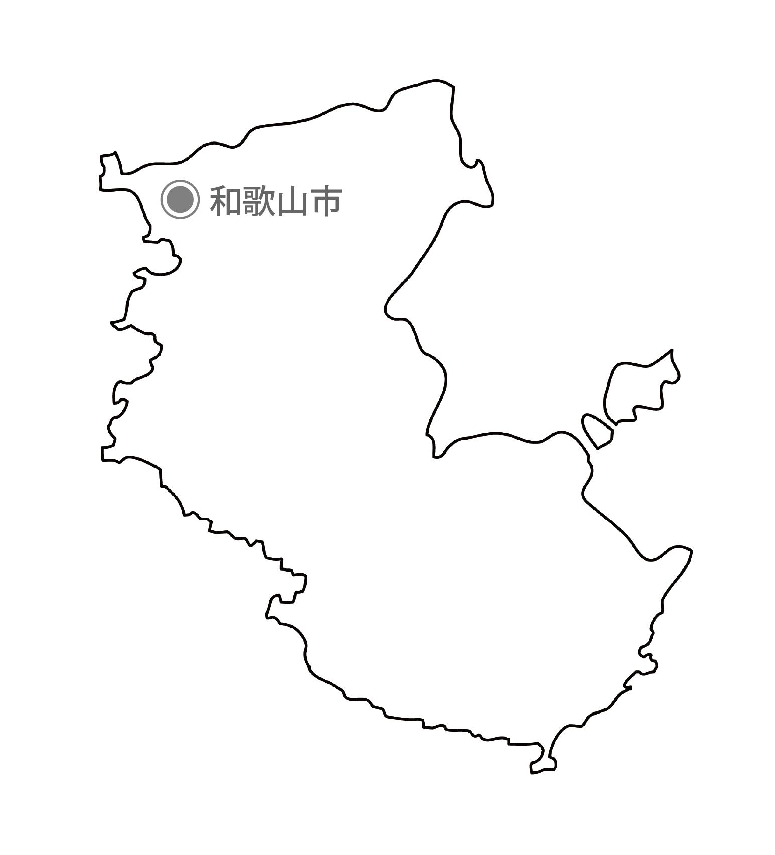 [白地図]和歌山県・都道府県名・県庁所在地あり