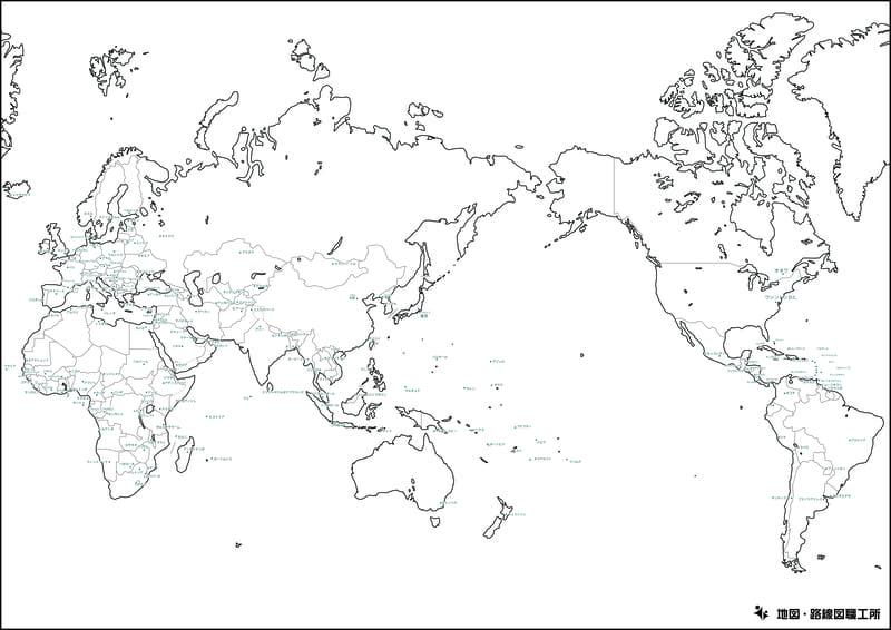 世界地図の白地図(国境線あり・国名入り)