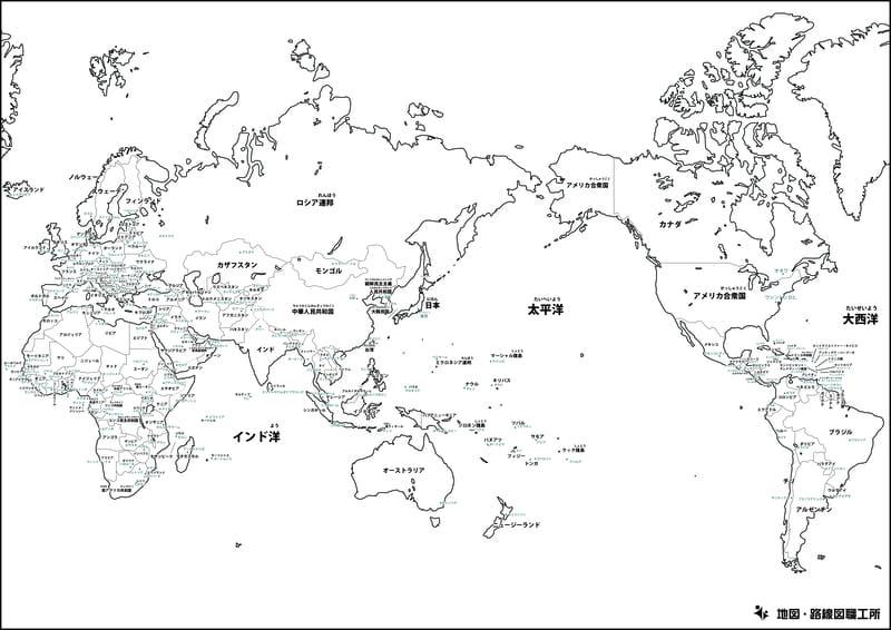 世界地図の白地図(国境線あり・国名・首都名入り)