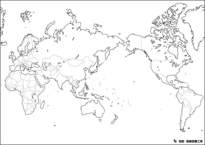 世界地図の白地図(国境線のみ)