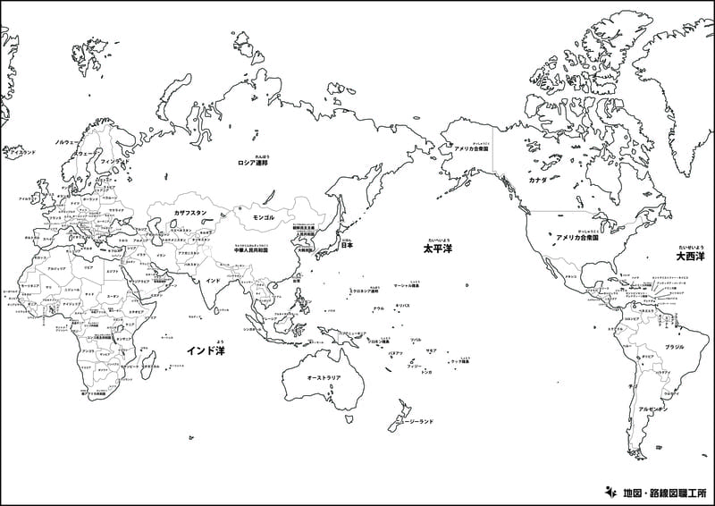 世界地図の白地図(国境線あり・首都名のみ)
