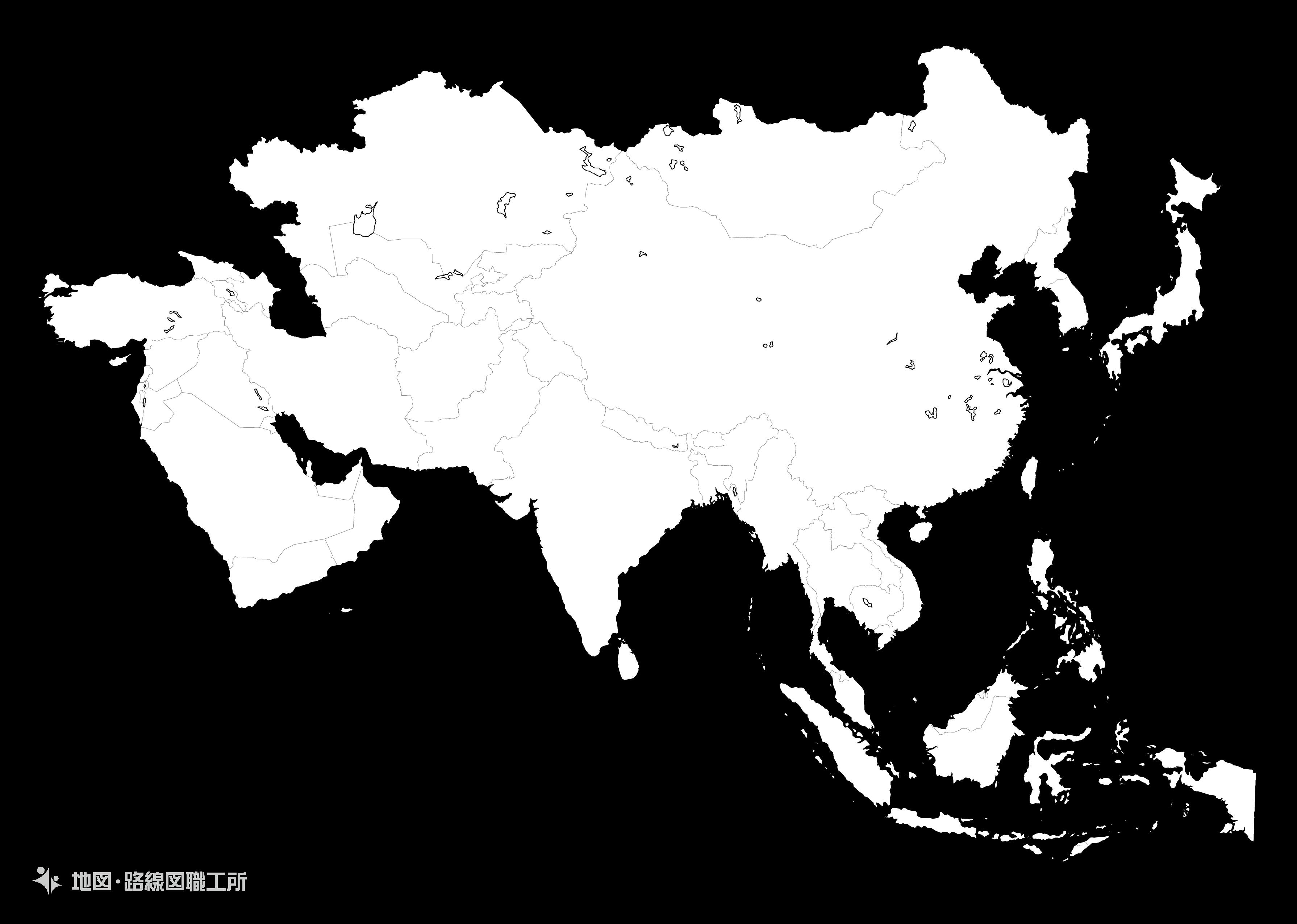世界の白地図アジア azia map