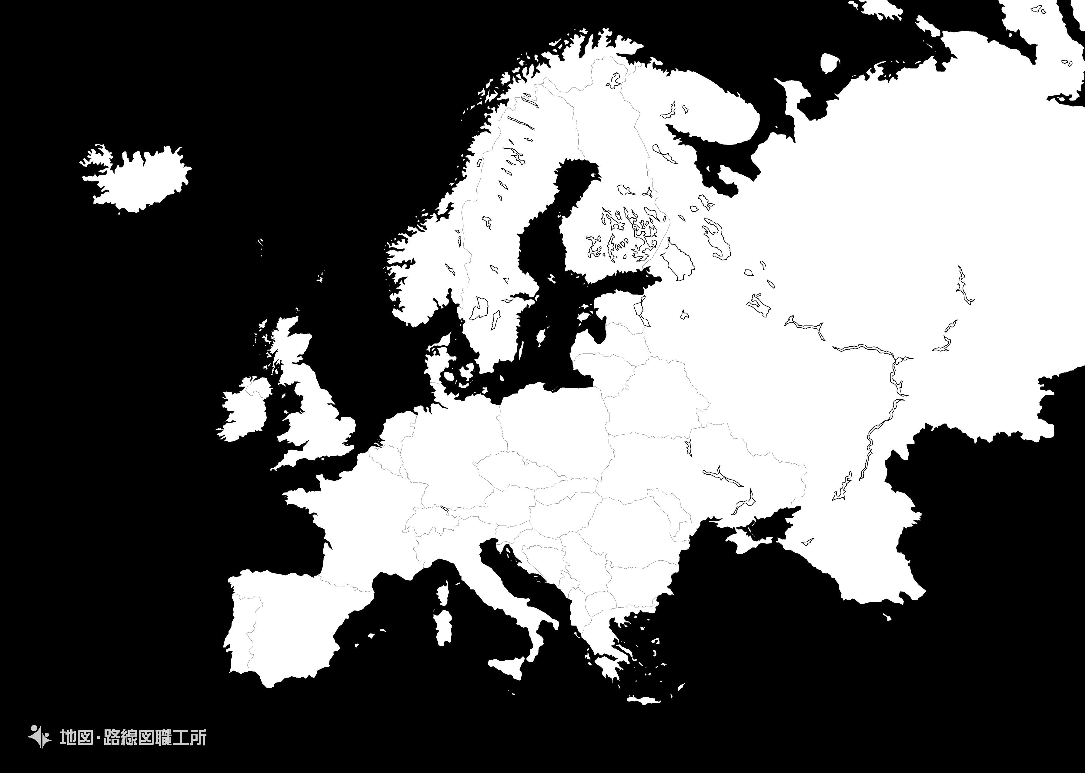 世界の白地図ヨーロッパ europe map