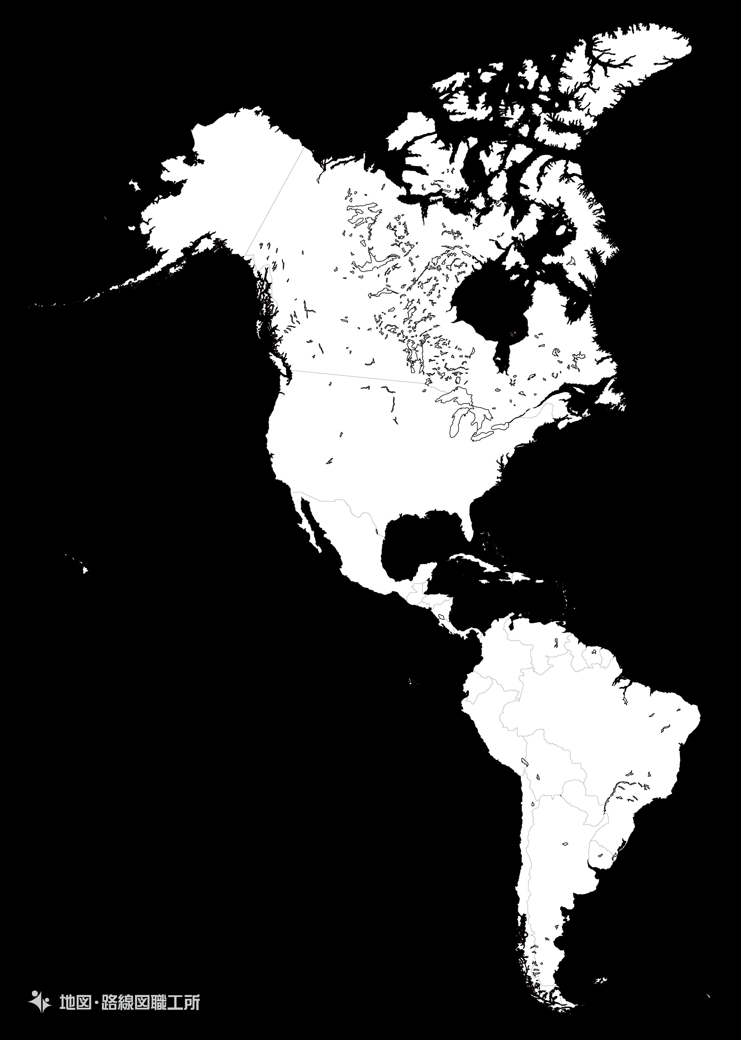 世界の白地図 北中米 North and Central America map