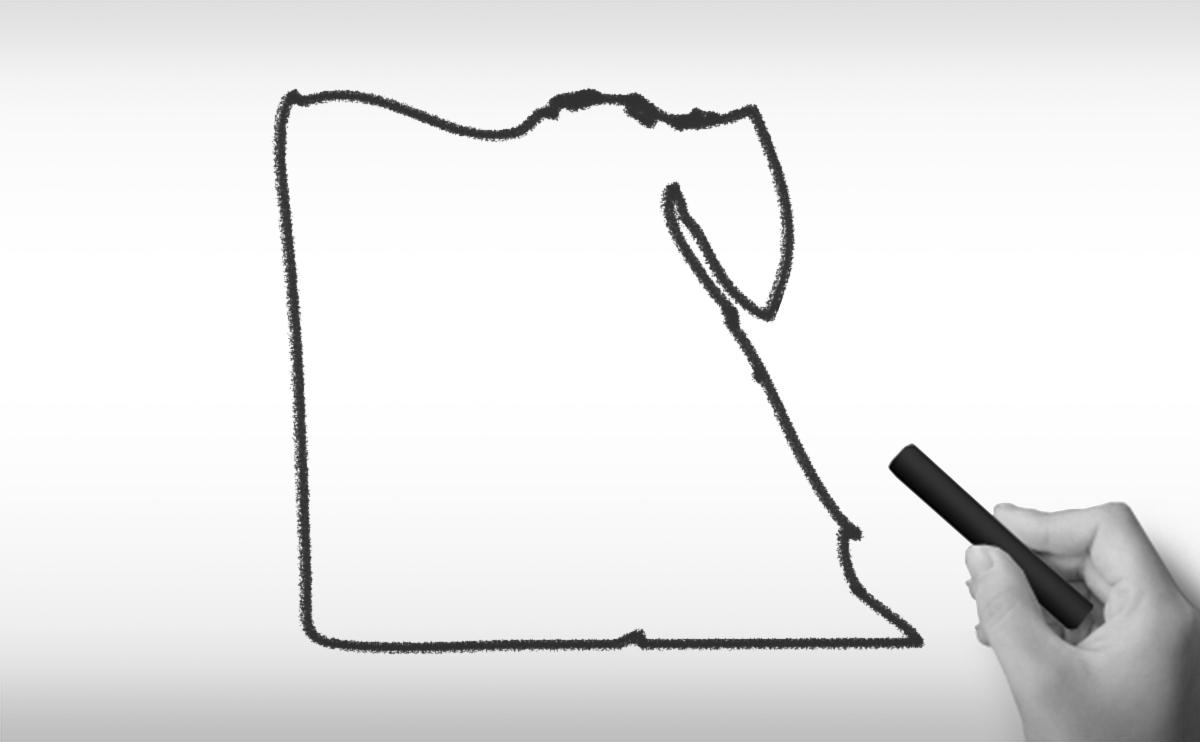 エジプト・アラブ共和国の白地図イラスト