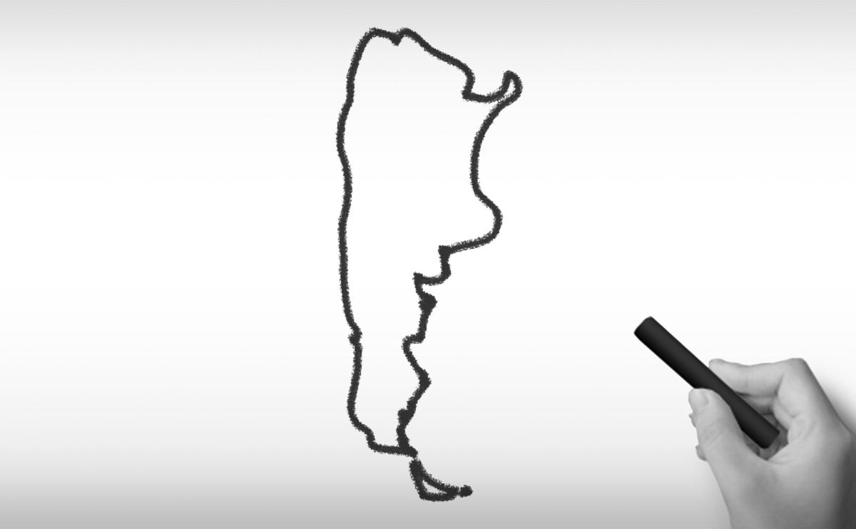 アルゼンチン共和国の白地図イラスト