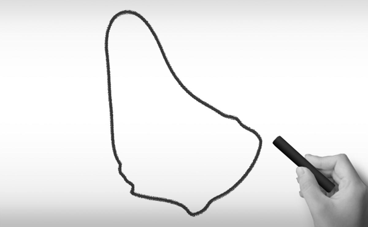 バルバドスの白地図イラスト