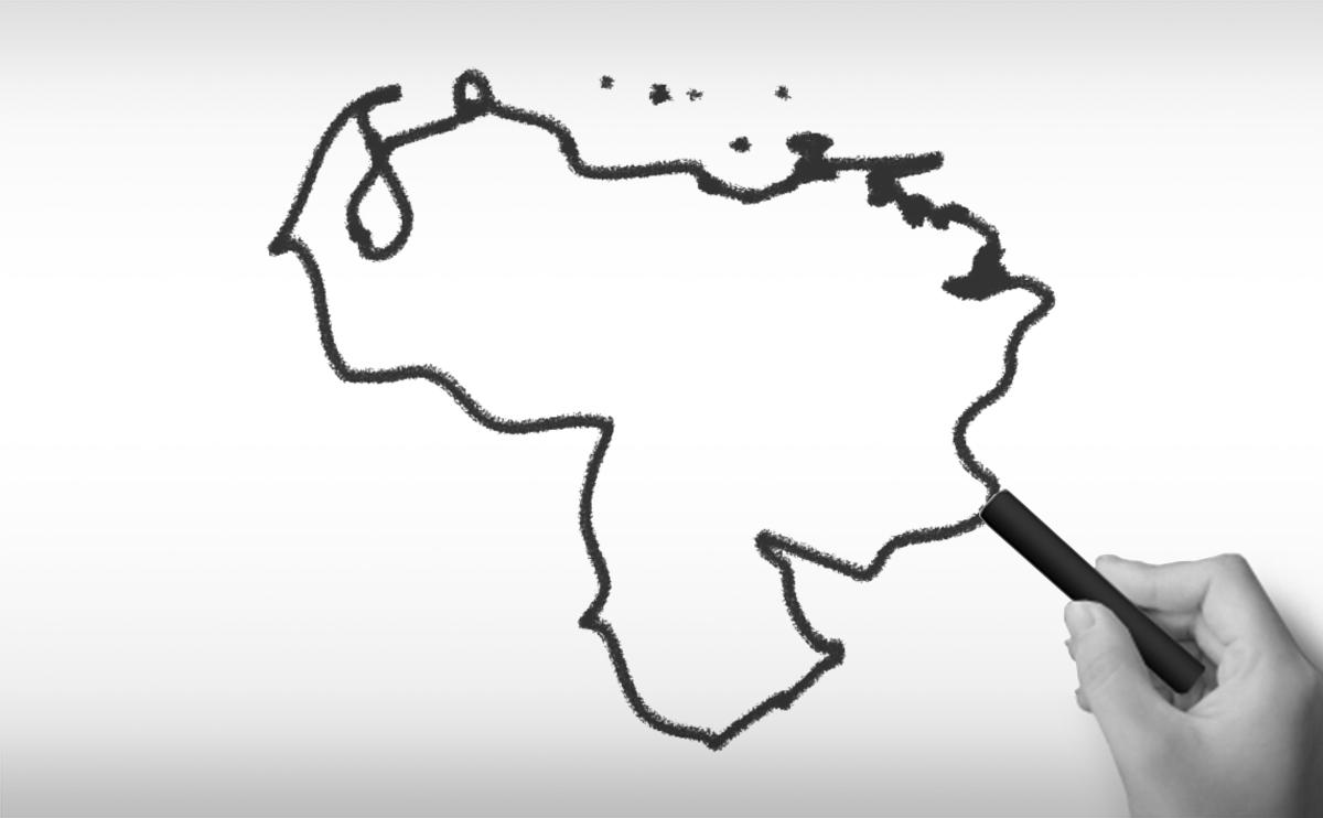 ベネズエラ・ボリバル共和国の白地図イラスト