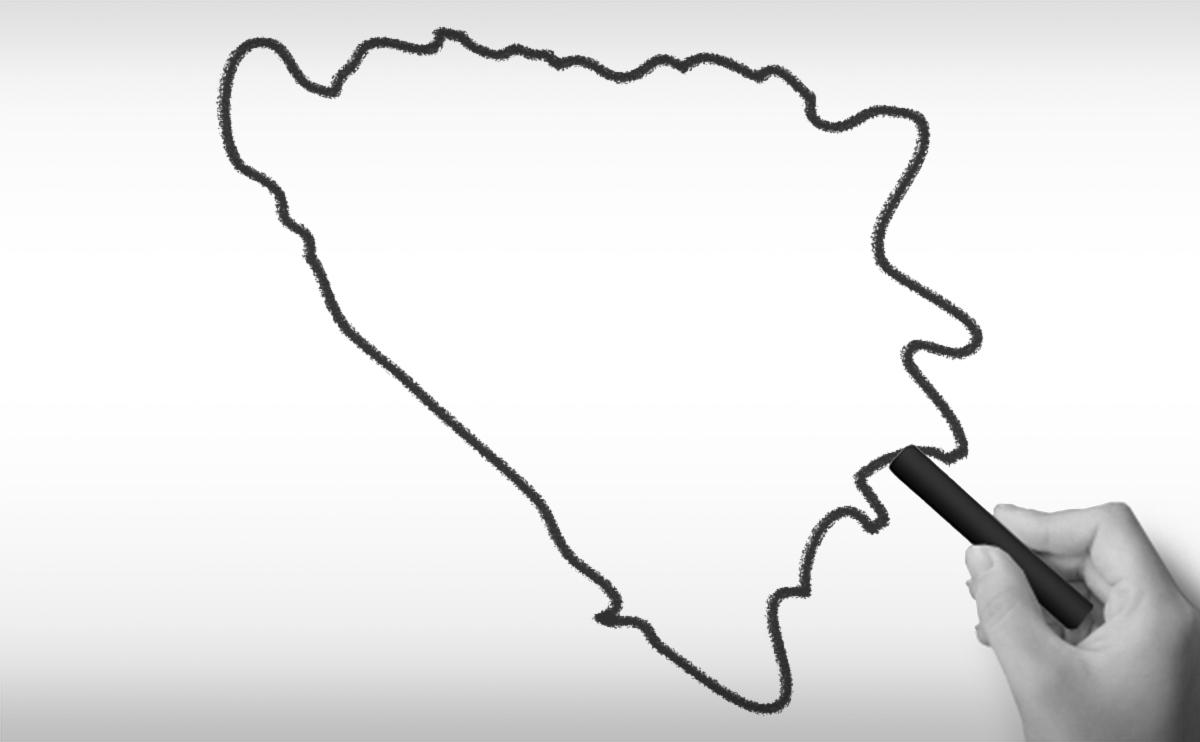 ボスニア・ヘルツェゴヴィナの白地図イラスト