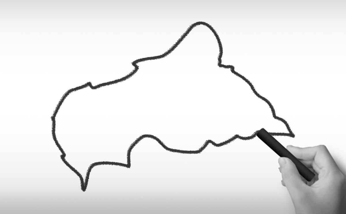 中央アフリカ共和国の白地図イラスト