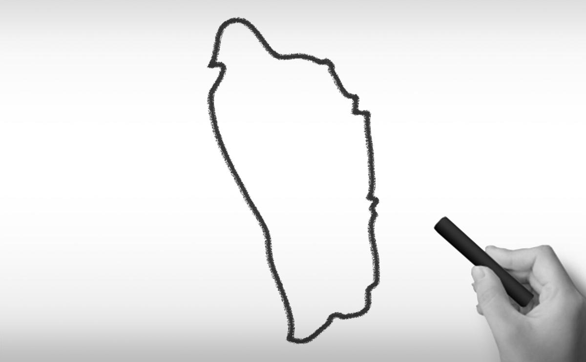 ドミニカ国の白地図イラスト
