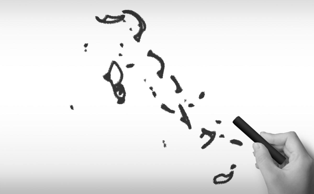 バハマ国の白地図イラスト