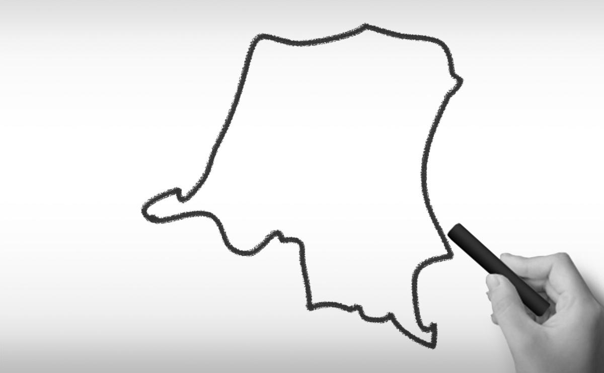 コンゴ民主共和国の白地図イラスト