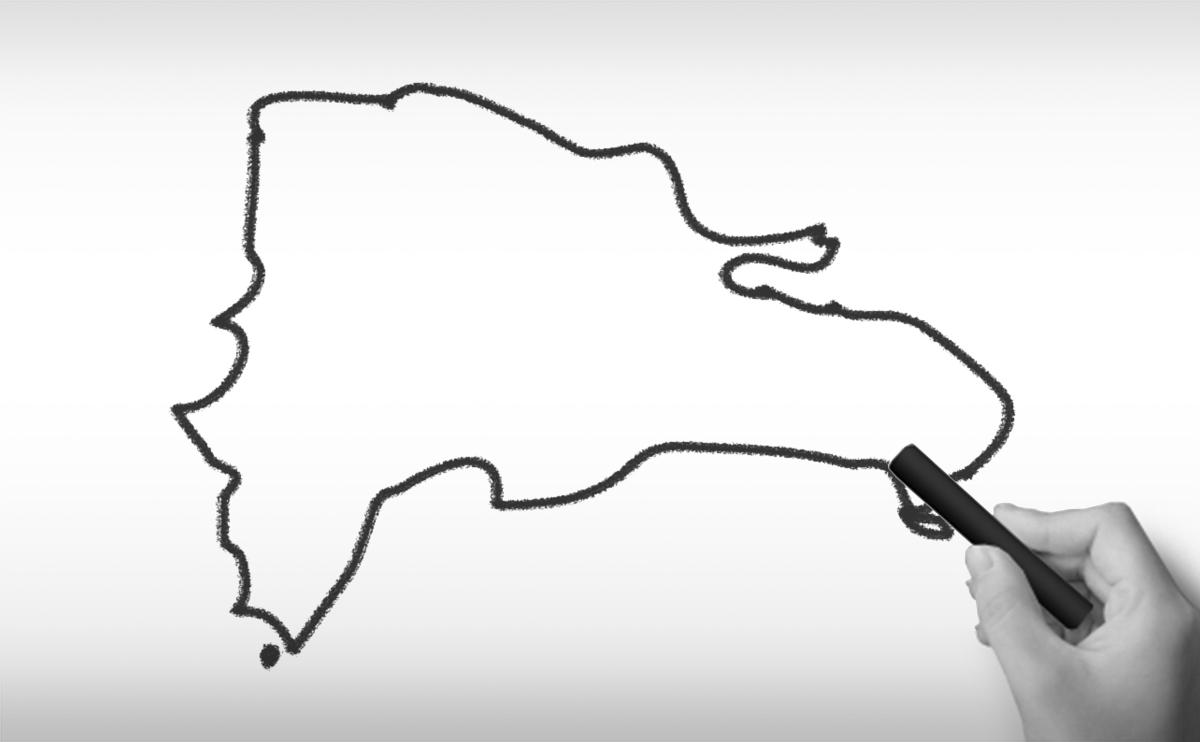 ドミニカ共和国の白地図イラスト