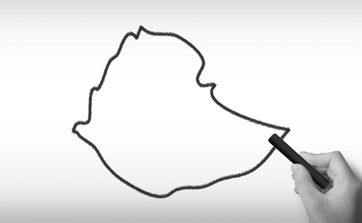 エチオピア連邦民主共和国の白地図イラスト