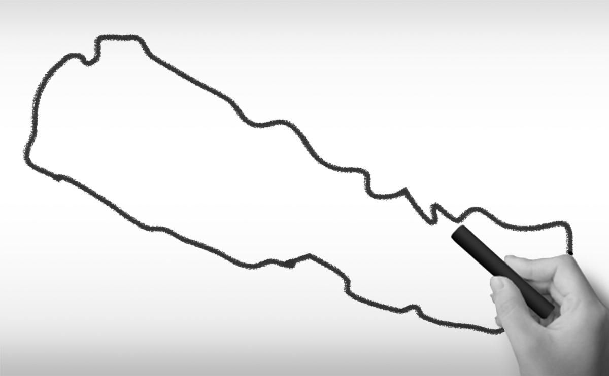ネパール連邦民主共和国の白地図イラスト