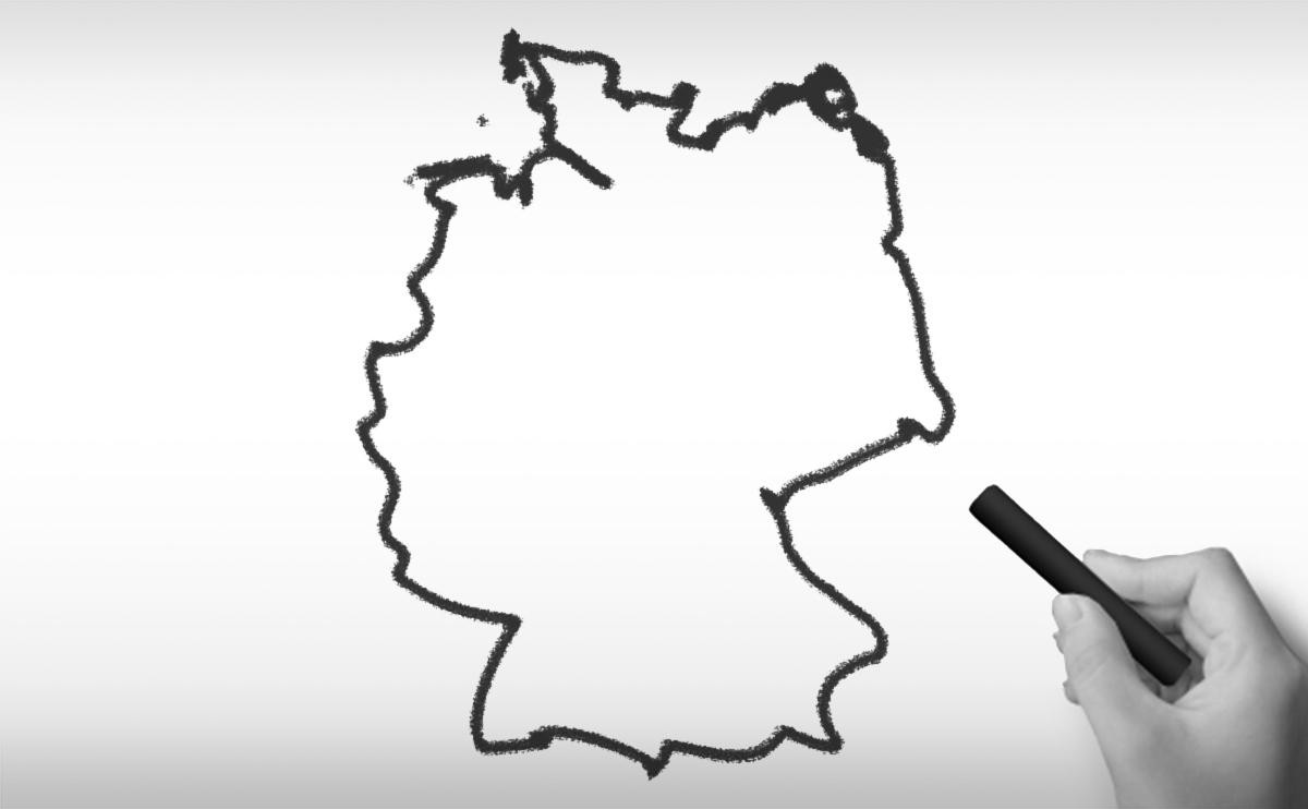 ドイツ連邦共和国の白地図イラスト
