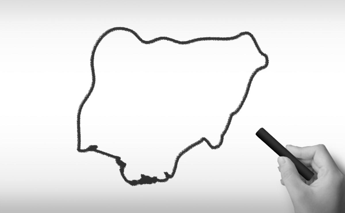 ナイジェリア連邦共和国の白地図イラスト