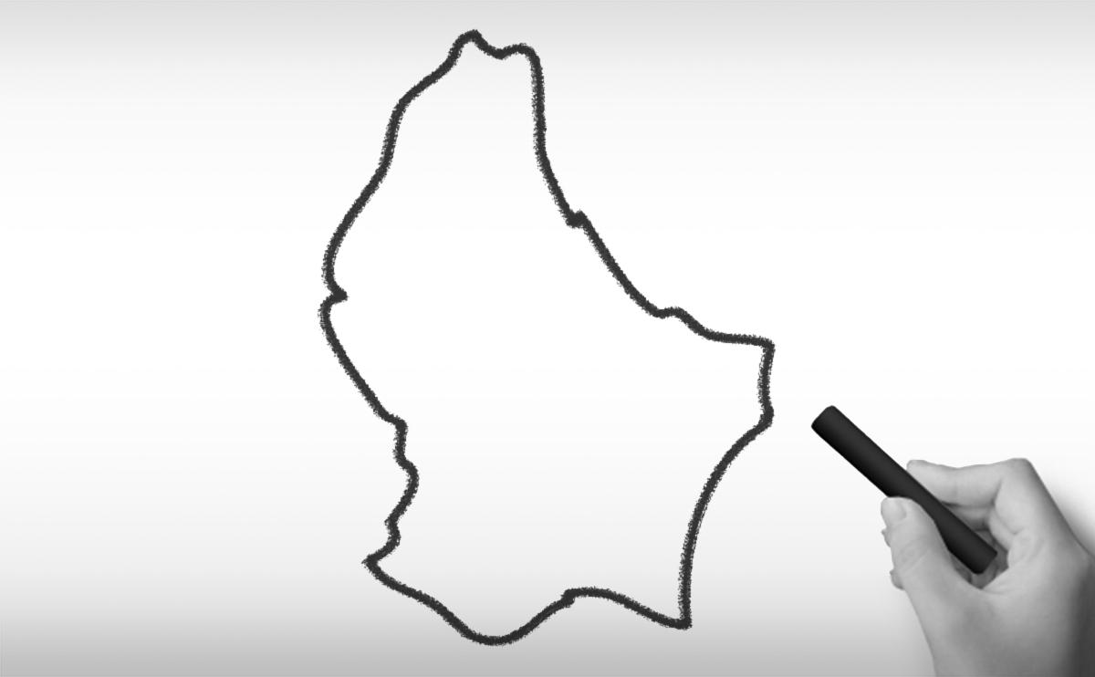 ルクセンブルク大公国の白地図イラスト