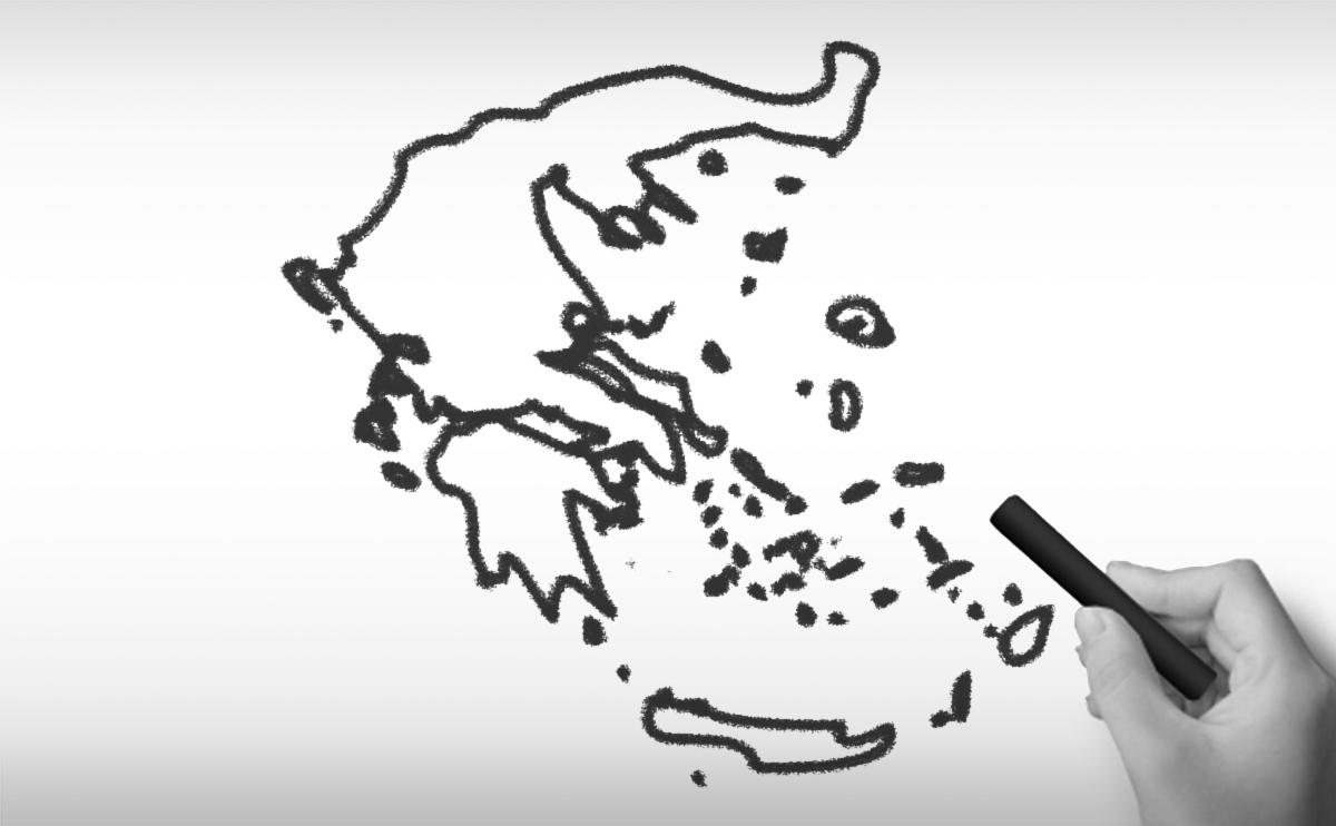 ギリシャ共和国の白地図イラスト