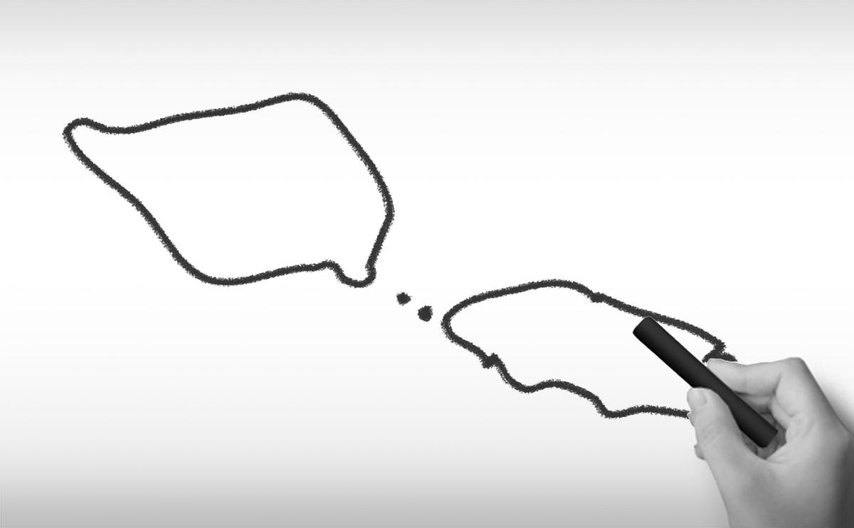 サモア独立国の白地図イラスト