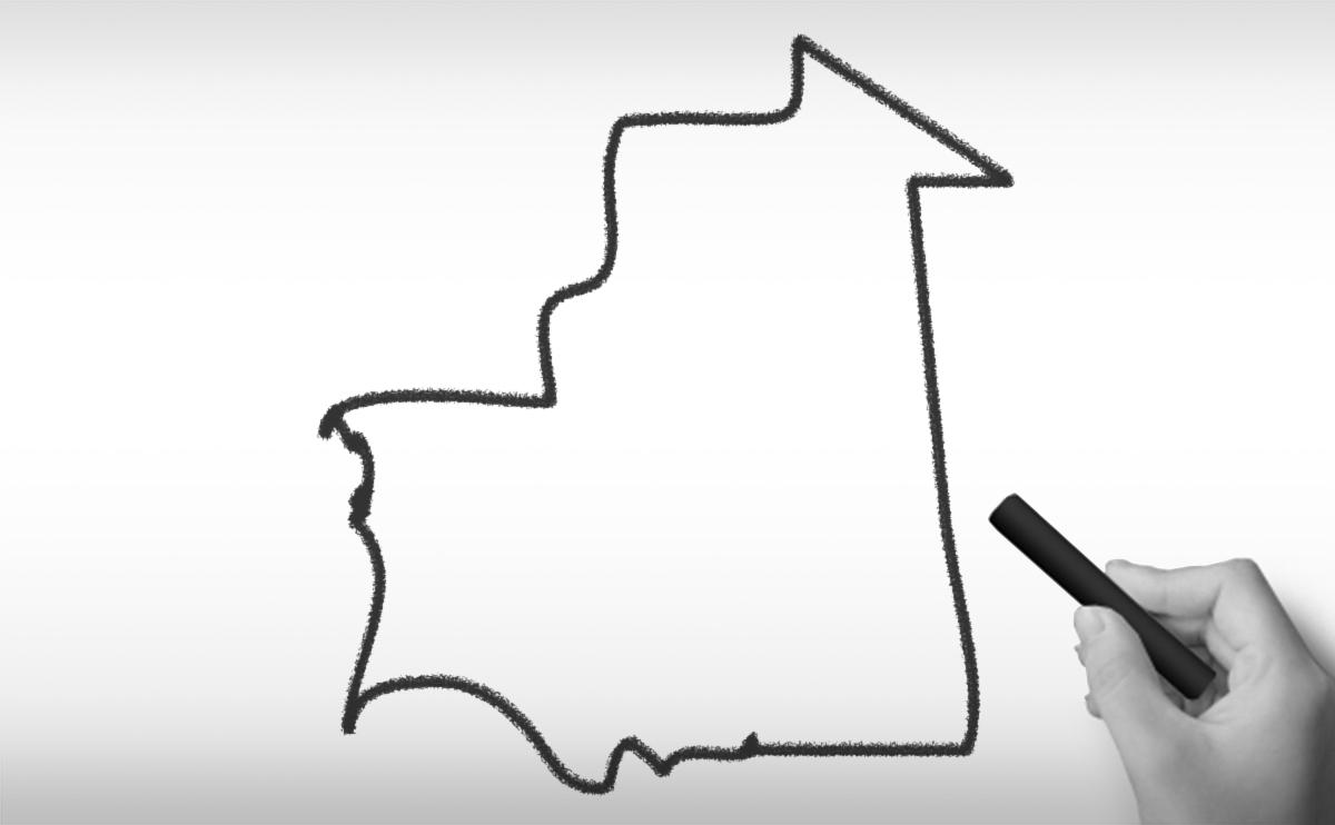 モーリタニア・イスラム共和国の白地図イラスト