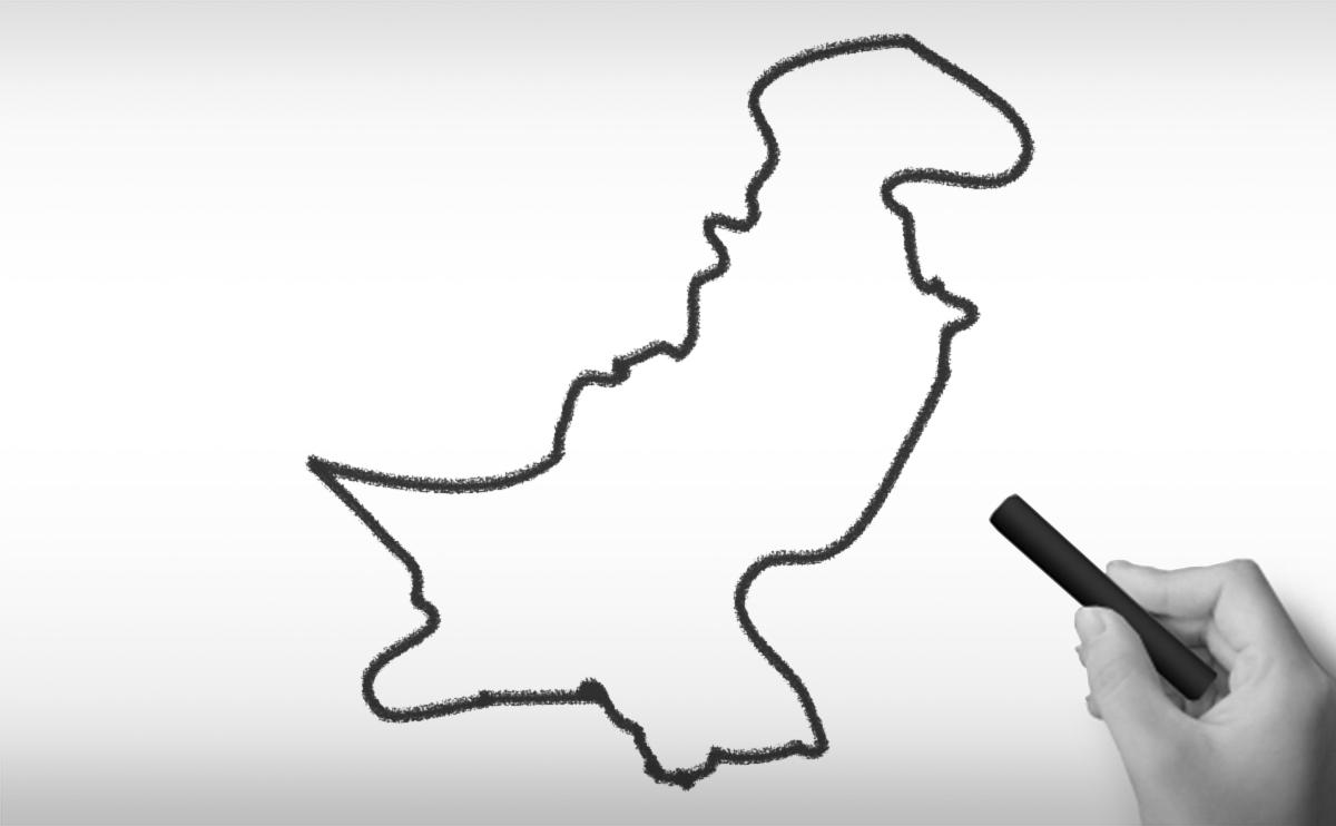 パキスタン・イスラム共和国の白地図イラスト