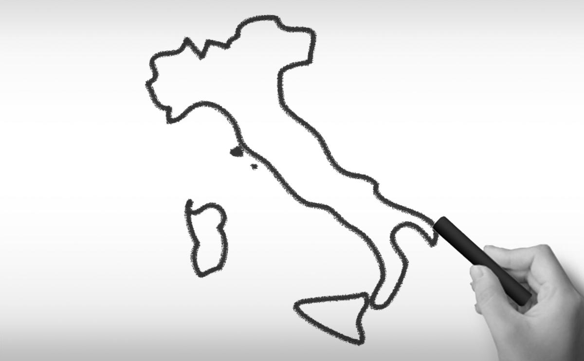 イタリア共和国の白地図イラスト