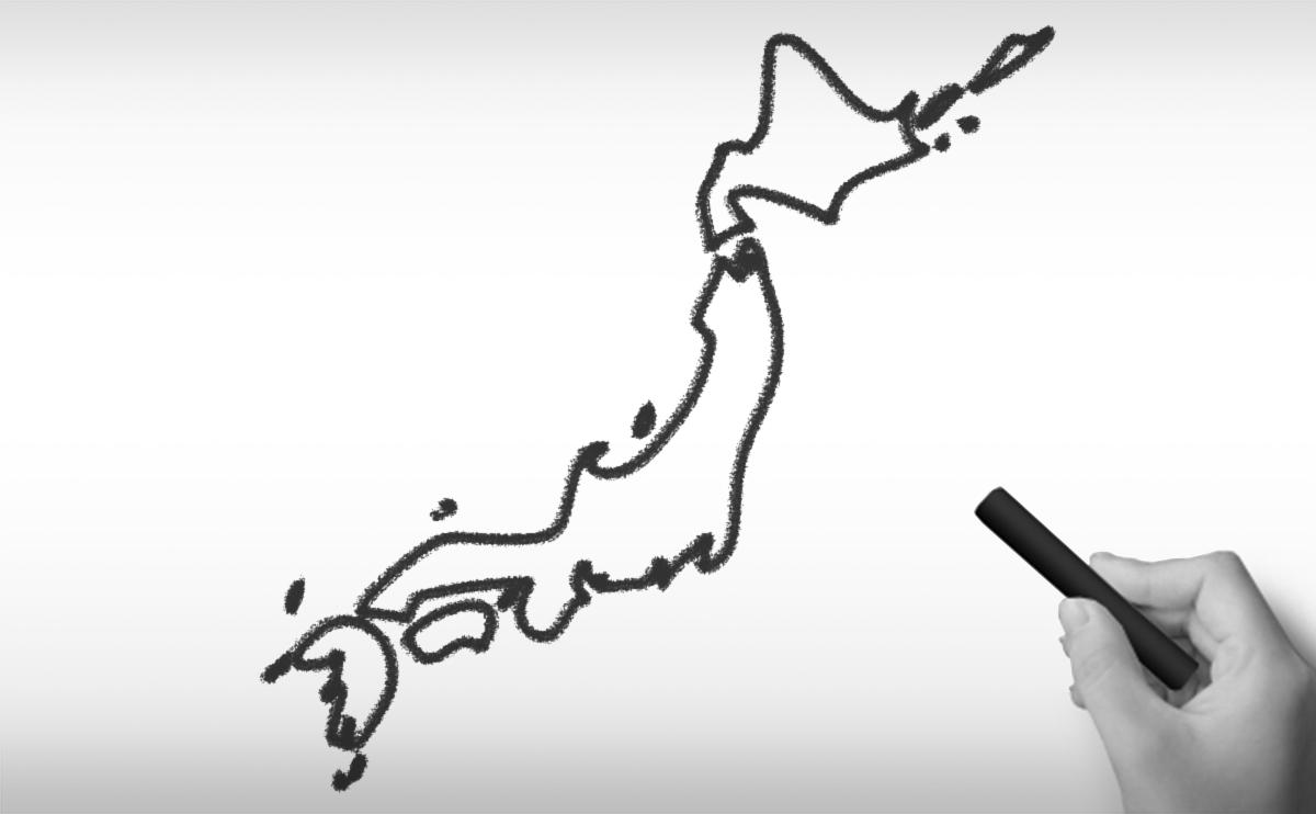日本国の白地図イラスト