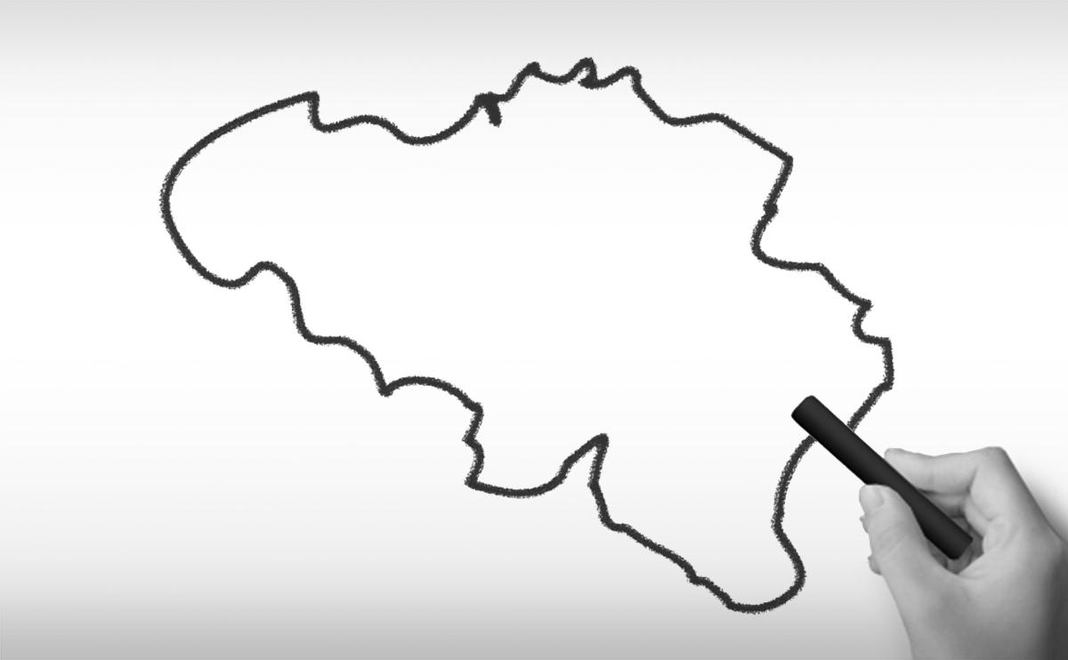 ベルギー王国の白地図イラスト