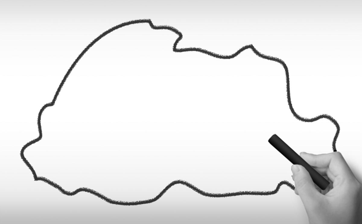 ブータン王国の白地図イラスト