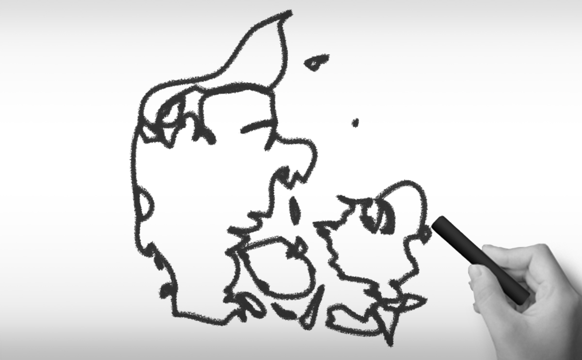 デンマーク王国の白地図イラスト