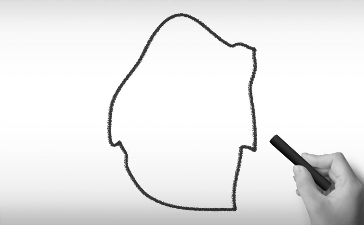 スワジランド王国の白地図イラスト