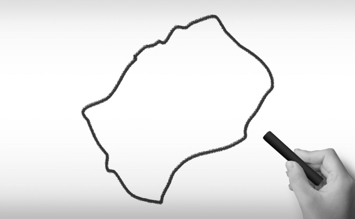 レソト王国の白地図イラスト