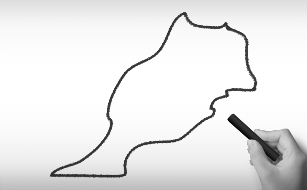 モロッコ王国の白地図イラスト