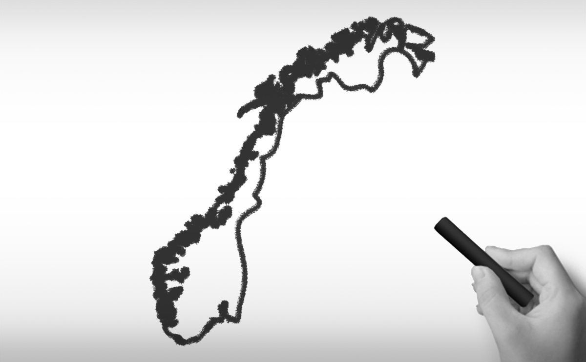 ノルウェー王国の白地図イラスト