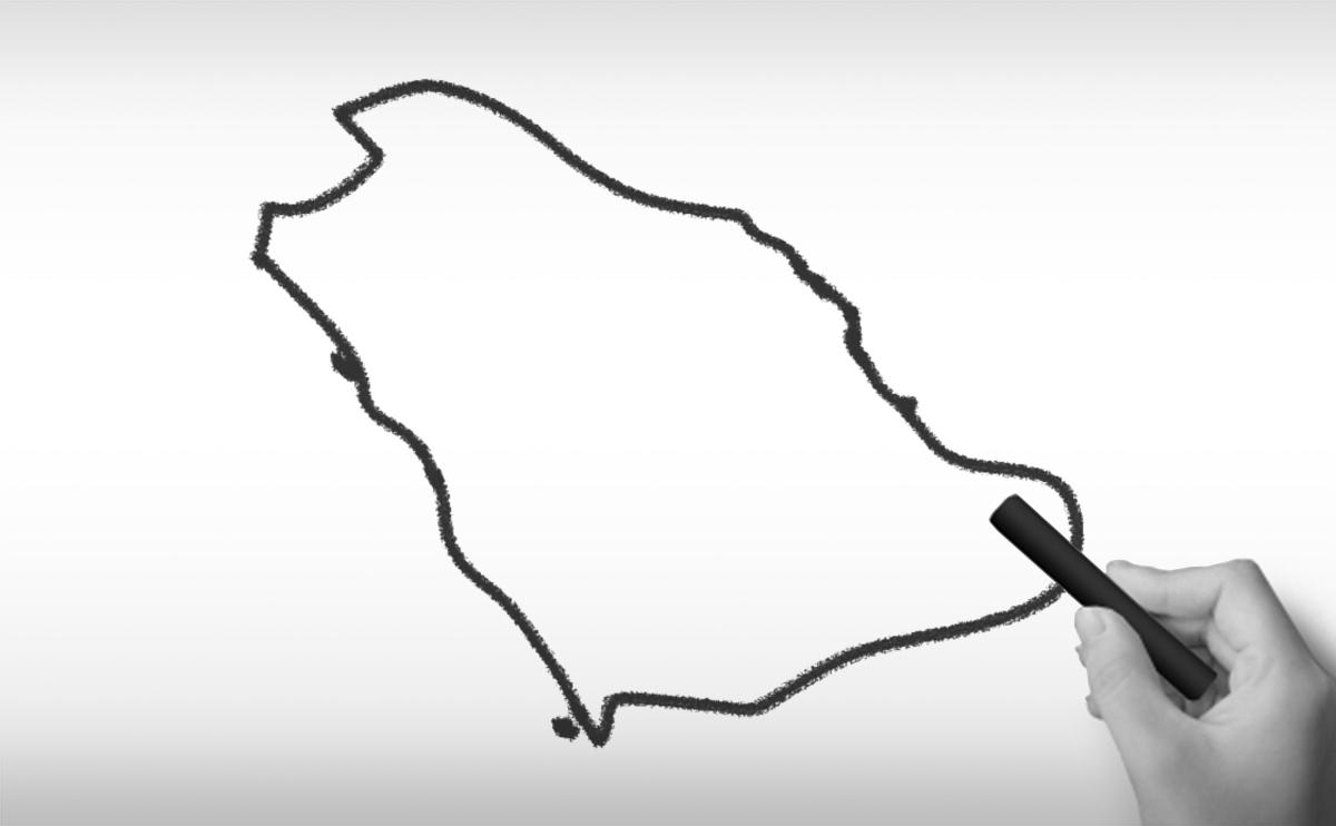 サウジアラビア王国の白地図イラスト