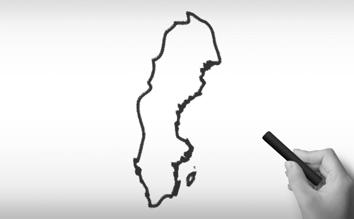 スウェーデン王国の白地図イラスト