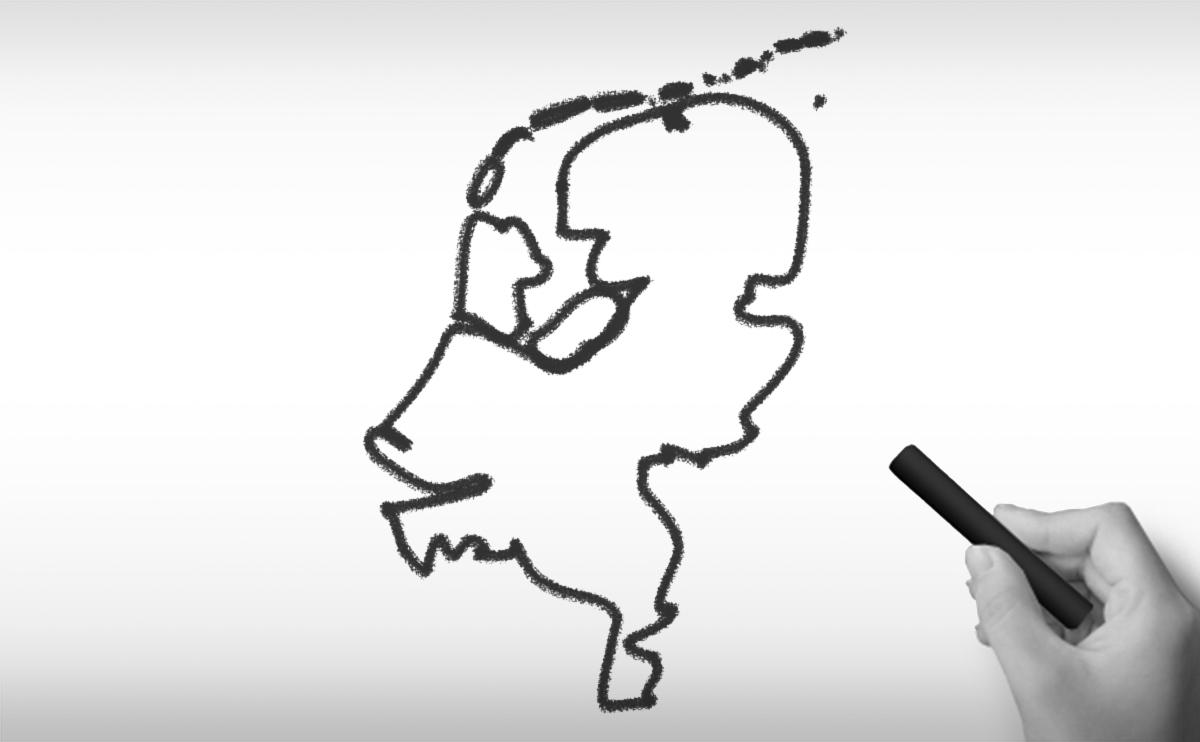 オランダ王国の白地図イラスト