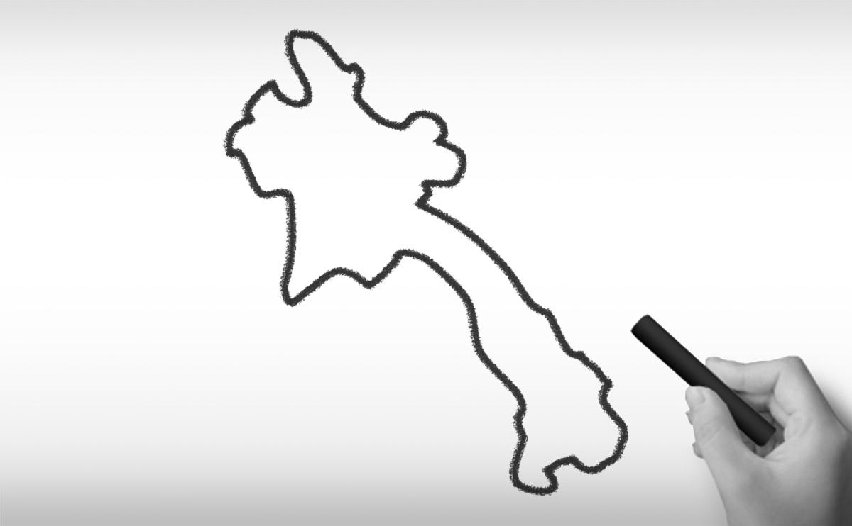 ラオス人民民主共和国の白地図