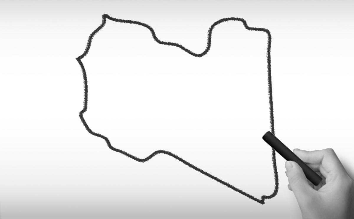 リビアの白地図イラスト