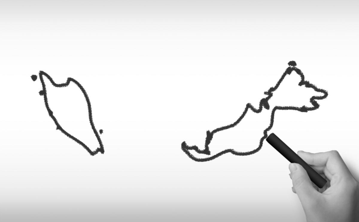 マレーシアの白地図イラスト