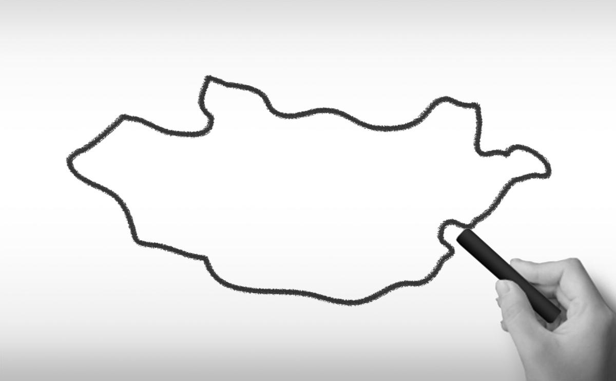 モンゴル国の白地図イラスト