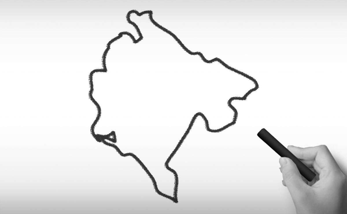 モンテネグロの白地図イラスト