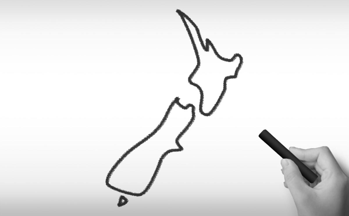 ニュージーランドの白地図イラスト