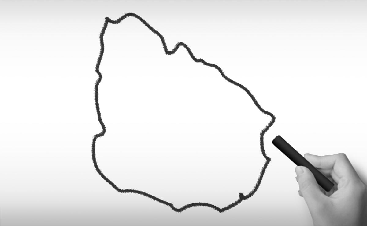 ウルグアイ東方共和国の白地図イラスト