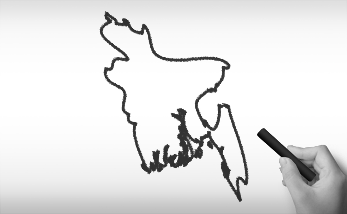 バングラデシュ人民共和国の白地図イラスト