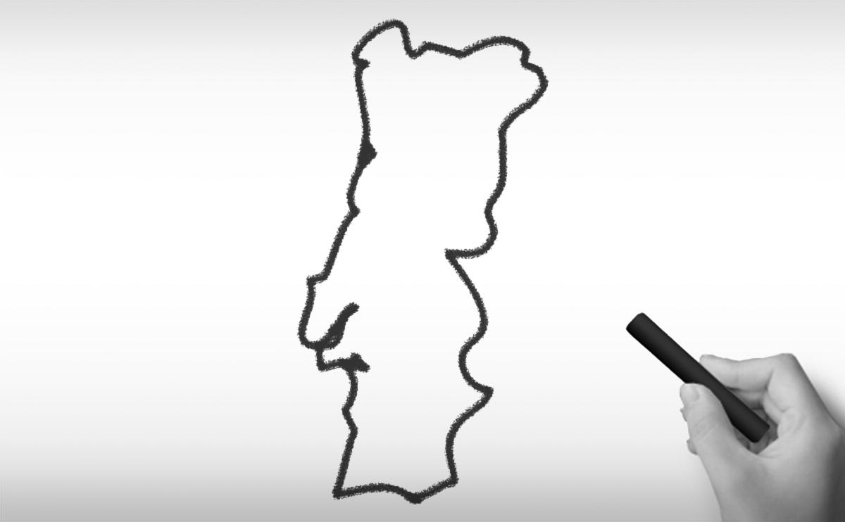 ポルトガル共和国の白地図イラスト